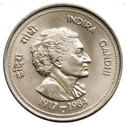 5 Rupees Indira Gandhi Gem...